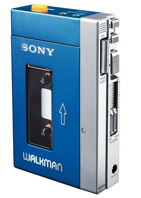 sony walkman cassette on the end of the late sony walkman is
