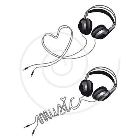 heartbeat headphones tattoo music love headphone with heart digital clip art by