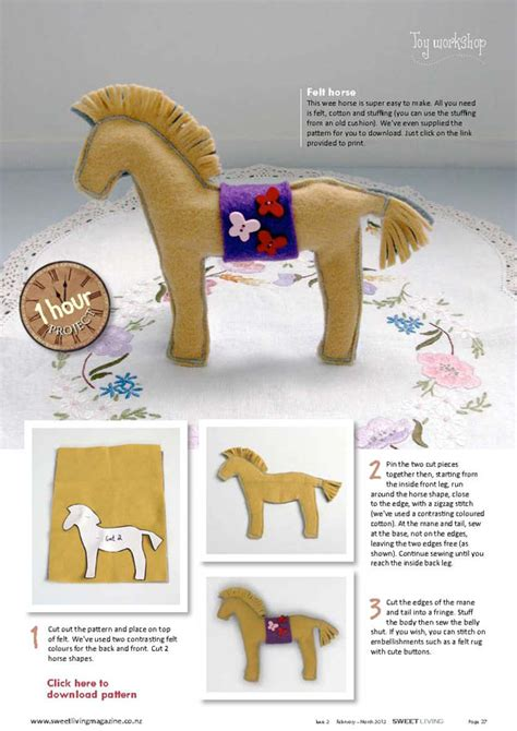 pattern for felt horse diy felt horse