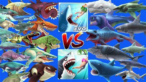hungry shark world vs evolution all 34 sharks unlocked
