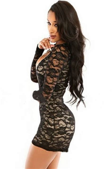Id 999 Black Lace V Neck Jumpsuit by Cheap Wholesale Black Lace Sleeve Romper