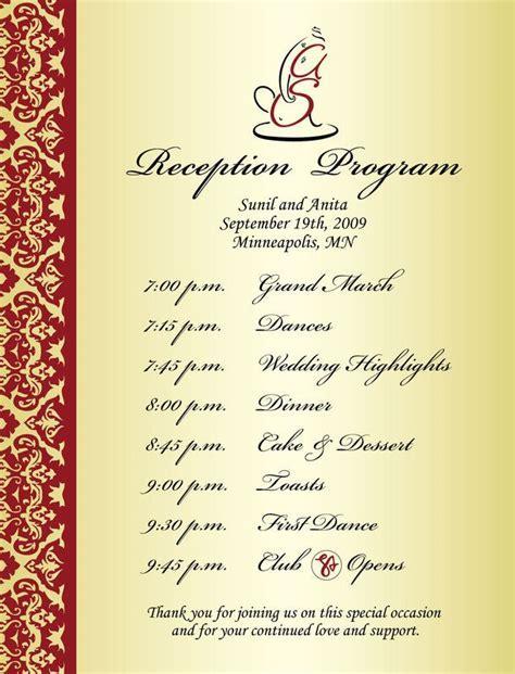 Wedding Reception Program Sample   Weddings & Events Puram