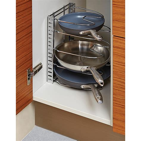 kitchen cabinet pot and pan organizers iris chrome cookware organizer the container store