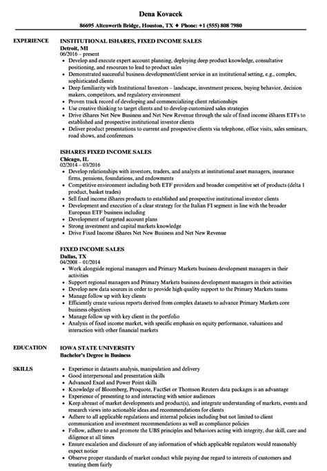 Fixed Income Portfolio Manager Sle Resume by Fixed Income Sales Resume Sles Velvet