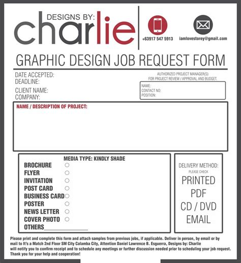 design request form template order form graphic design order form