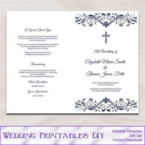 Catholic Wedding Program Template Diy Navy Blue Cross Ceremony Booklet Folded Church Programs Church Wedding Program Template