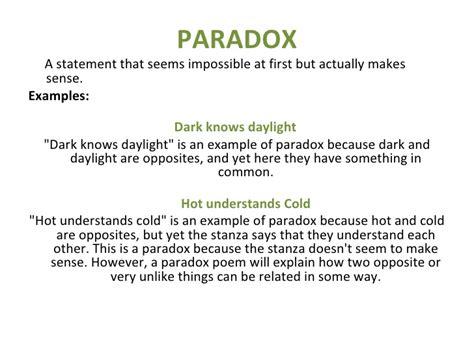 exle of paradox poetic elements