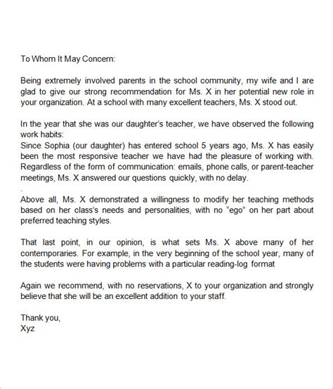 Parent Letter Of Recommendation For Sle Letter Of Recommendation For 18 Documents In Word