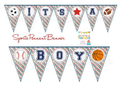 sports banner templates sports pennant banner baby shower or birthday you print