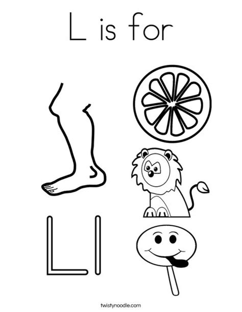 L Coloring Pages For Preschoolers by L Is For Coloring Page Twisty Noodle
