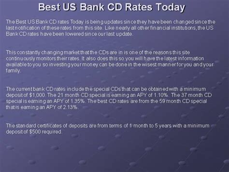 Best Us Bank Cd Rates Today Authorstream