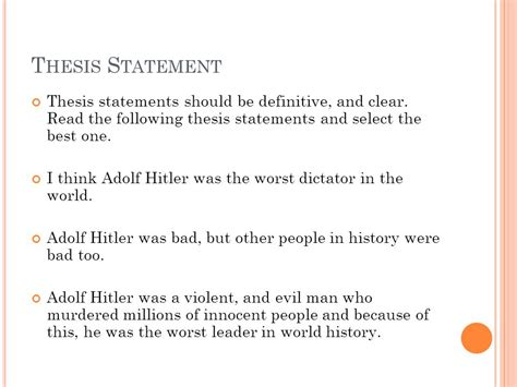 how to make a clear thesis statement essay on adolf