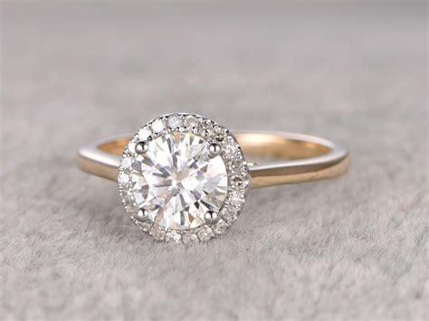 1ct brilliant moissanite engagement ring two tone plain