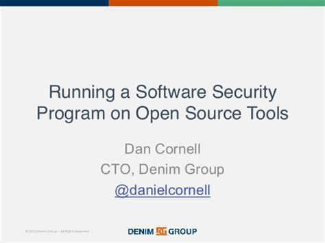 running a software security program with open source tools