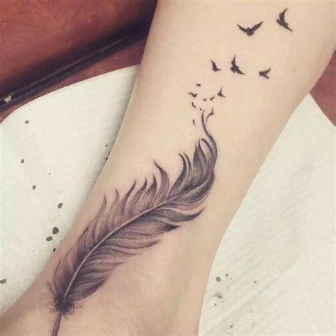 one off tattoo designs grey ink feather with flying birds design for ankle