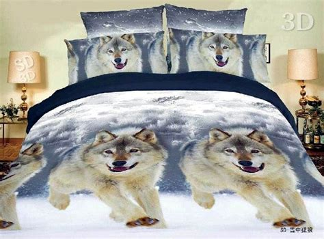 wolf print comforter set 3d snow wolf animal print bedding comforter set queen size