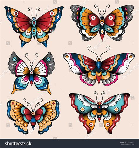 pattern and decoration artist set old school tattoo art butterflies stock vector