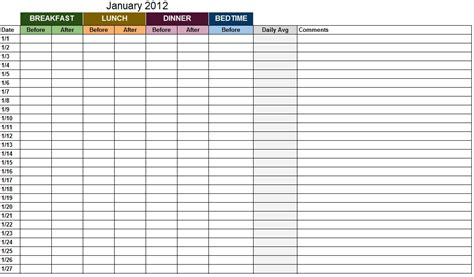 blood sugar log template sle