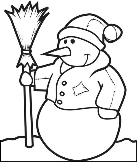 broom tree coloring page free printable snowman coloring page for kids 5