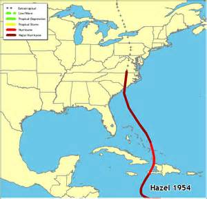 map of east coast usa and caribbean hurricanes in history