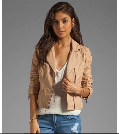 light leather jacket womens light tan leather jacket with white shirt and blue jeans