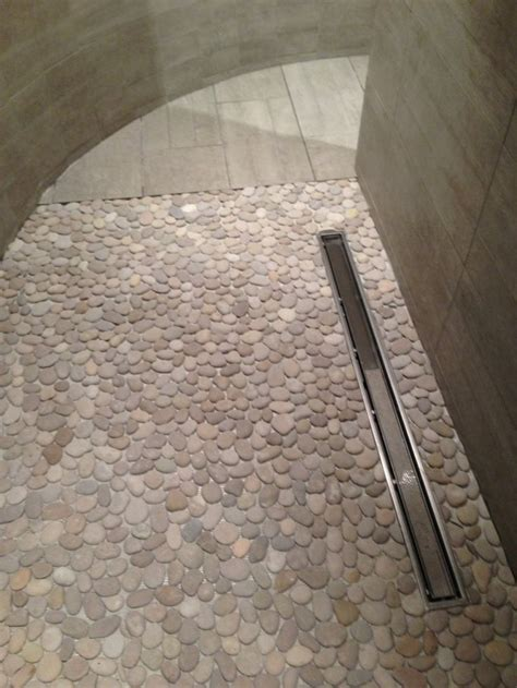 Pebble Mosaic Shower Floor Linear Drain Large  Format