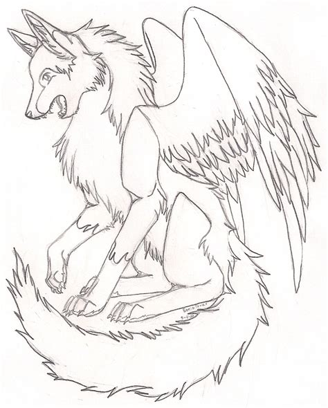 another winged wolf by karate foxes on deviantart