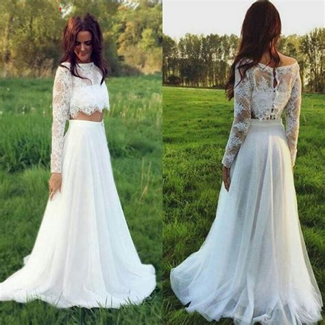 discount 2016 two piece long sleeves wedding dresses