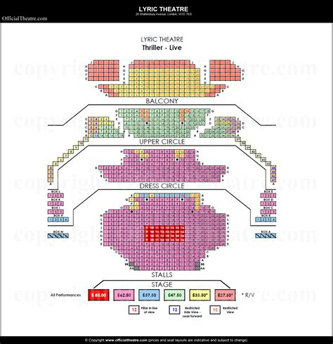 lyric theatre floor plan lyric theatre london seat map and prices for thriller live