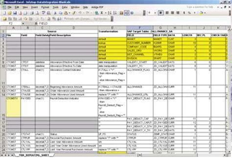 Mapping Analyst For Excel In Informatica 8 6 Obia Etl Source To Target Mapping Template