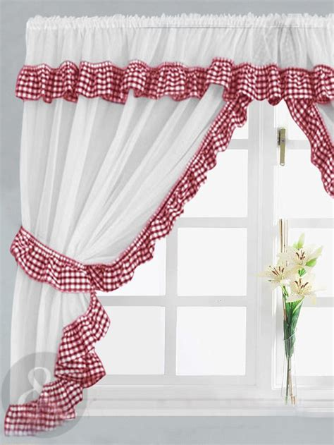 gingham curtains red gingham check red white kitchen curtain