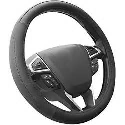 Steering Wheel Pc Truck Sewing Black Genuine Leather Steering