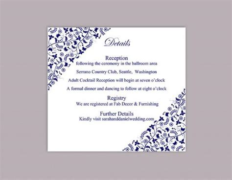 Wedding Card Text Template by Diy Wedding Details Card Template Editable Text Word File