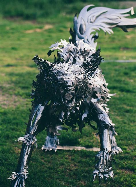 Handmade Sculpture - handmade metal wolf sculpture the green