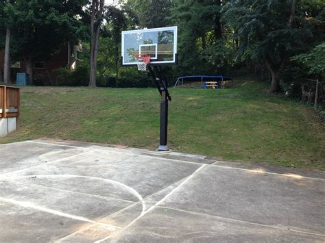 the pro dunk platinum basketball hoop seemingly sits in