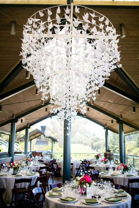 Origami Wedding Decorations - what a stunning origami crane chandelier photo by