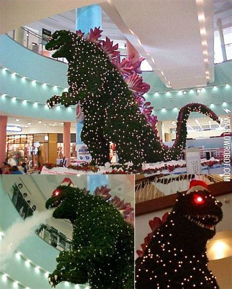 godzilla christmas tree spotted in japan