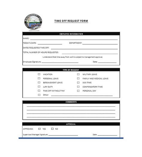 employee time off request form template excel and word excel tmp