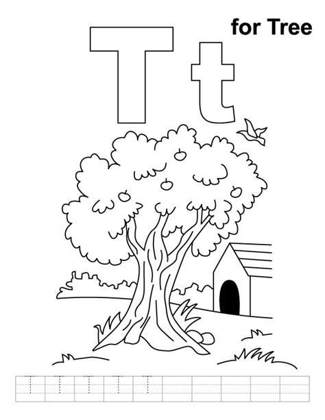 t is for tree a letter of the week preschool craft t for tree coloring page with handwriting practice