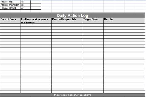 Optimus 5 Search Image Daily Activity Log Daily Log Template