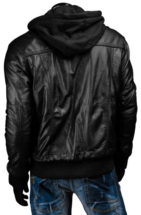 Black Hoodie Jacket black leather jacket with hoodie s slim fit black