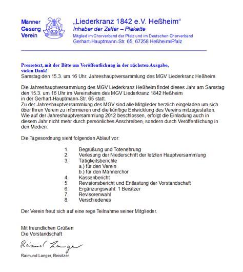 Muster Einladung Hauptversammlung einladung hauptversammlung verein thegirlsroom co