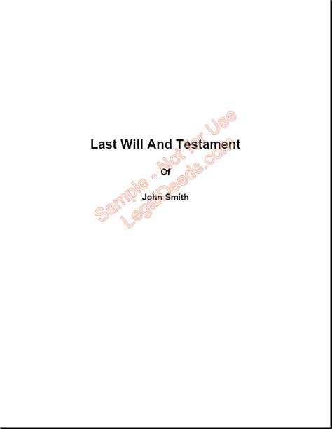 Will With Dependents Sle Image Last Will And Testament Cover Page Template
