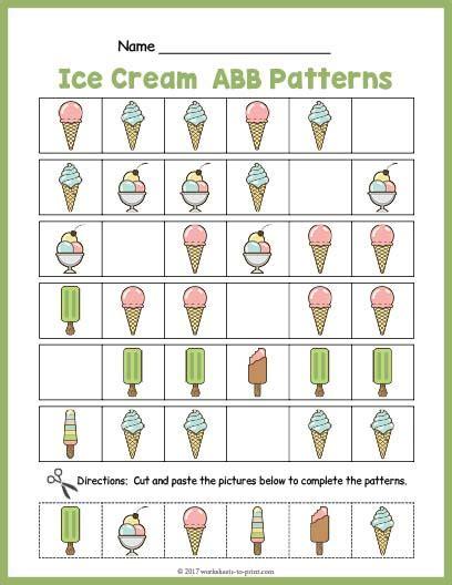 abb pattern video ice cream abb pattern worksheet