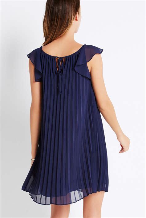 Sleeve Pleated Dress flutter sleeve pleated dress
