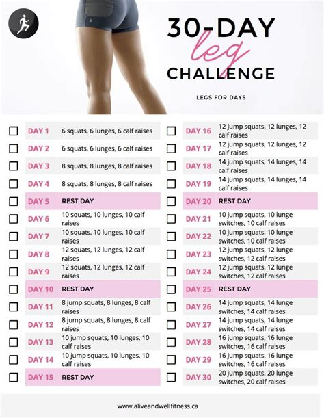 exercises challenges 30 day leg challenge to do in conjunction with 30 day
