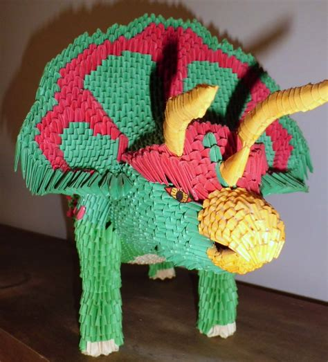 3d Origami Crafts - 3d origami triceratops 1 by dfoosdc on deviantart