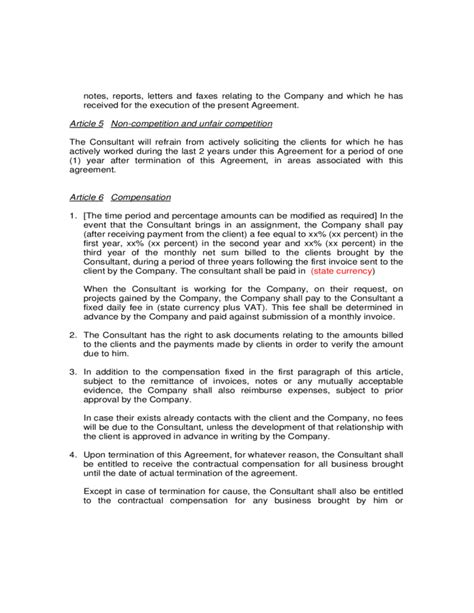 Agreement Letter For Consultancy Sle Consultancy Agreement Free