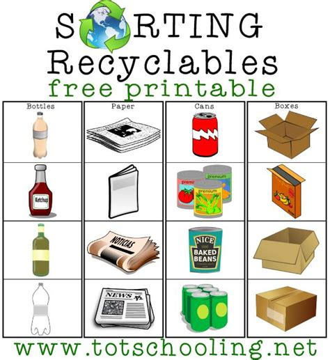 newspaper theme preschool sorting recyclables free printable free printable earth