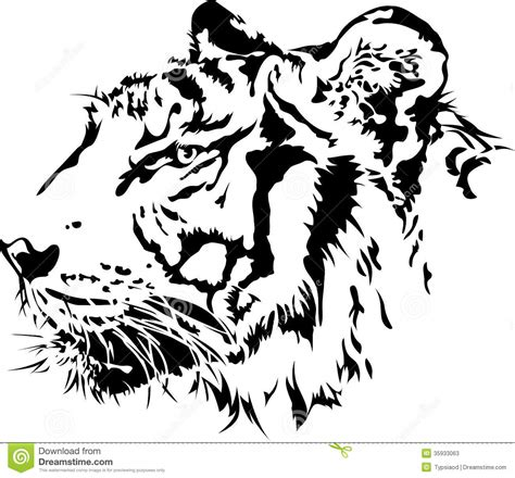 tiger head silhouette stock vector image of face side